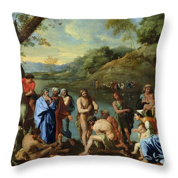 St John Baptising The People Throw Pillow by Nicolas Poussin