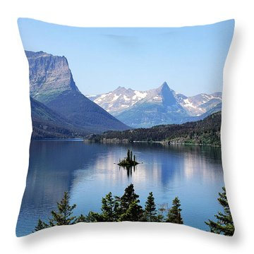 St Mary Lake - Glacier National Park Mt Throw Pillow by Christine Till