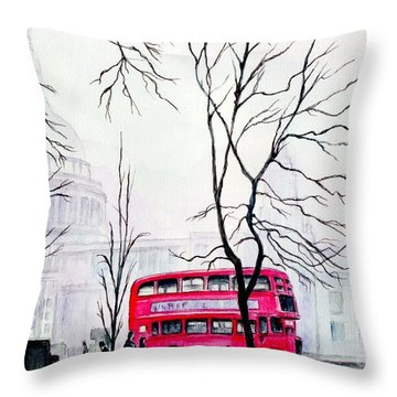 St Pauls Cathedral In The Mist  Throw Pillow by Morgan Fitzsimons