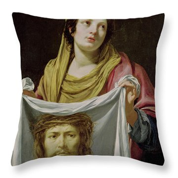 St. Veronica Holding The Holy Shroud Throw Pillow by Simon Vouet