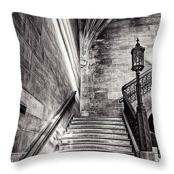 Stairs Of The Past Throw Pillow by CJ Schmit