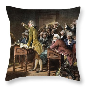 Stamp Act: Patrick Henry Throw Pillow by Granger