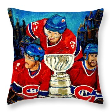 Stanley Cup Win In Sight Playoffs   2010 Throw Pillow by Carole Spandau