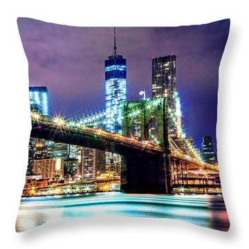 Star Spangled Skyline Throw Pillow by Az Jackson