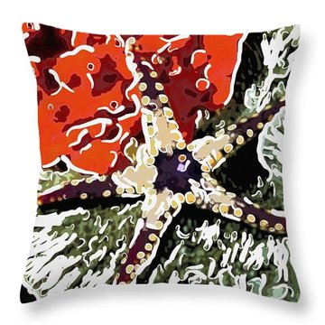 Starfish In Coral Reef 7 Throw Pillow by Lanjee Chee