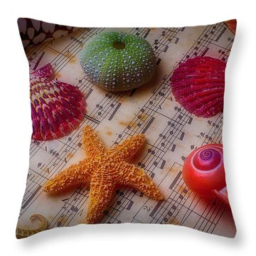 Starfish On Sheet Music Throw Pillow by Garry Gay