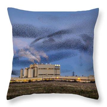 Starling Mumuration Throw Pillow by Ian Hufton
