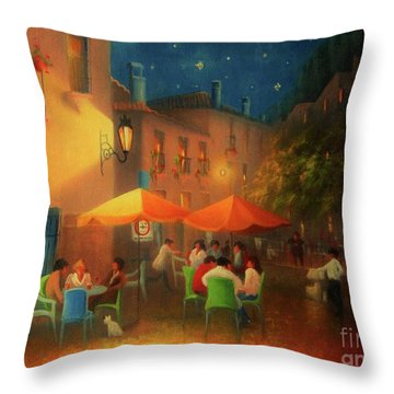 Starry Night Cafe Society Throw Pillow by Joe Gilronan
