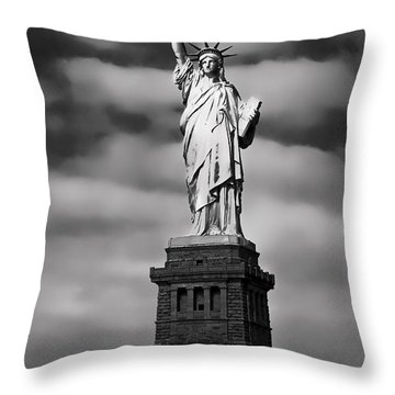 Statue Of Liberty At Dusk Throw Pillow by Daniel Hagerman