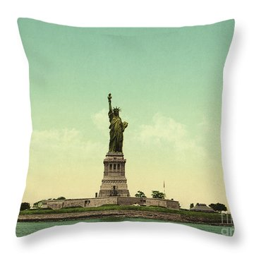 Statue Of Liberty, New York Harbor Throw Pillow by Unknown