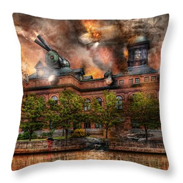 Steampunk - The War Has Begun Throw Pillow by Mike Savad