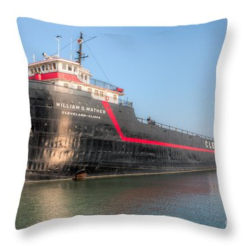 Steamship William G. Mather I Throw Pillow by Clarence Holmes