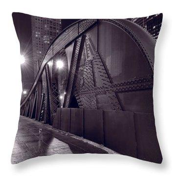 Steel Bridge Chicago Black And White Throw Pillow by Steve Gadomski