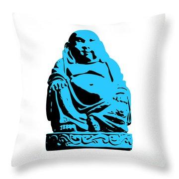 Stencil Buddha Throw Pillow by Pixel Chimp