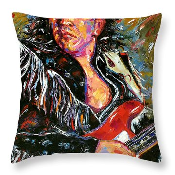 Stevie Ray Red Guitar Throw Pillow by Debra Hurd