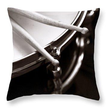 Sticks On Snare Drum Throw Pillow by Rebecca Brittain