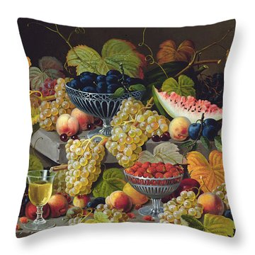 Still Life Of Melon Plums Grapes Cherries Strawberries On Stone Ledge Throw Pillow by Severin Roesen