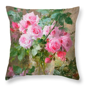 Still Life Of Roses In A Glass Vase  Throw Pillow by Frans Mortelmans