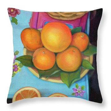 Still Life Oranges And Grapefruit Throw Pillow by Marlene Book