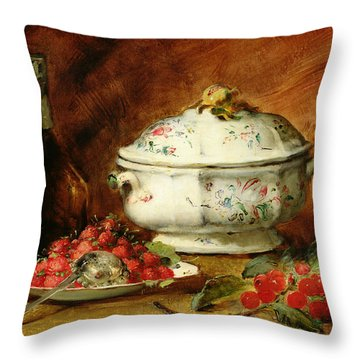 Still Life With A Soup Tureen Throw Pillow by Guillaume Romain Fouace