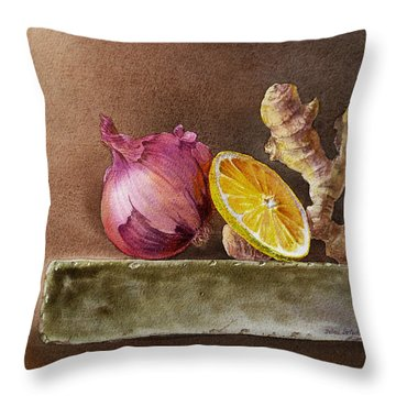 Still Life With Onion Lemon And Ginger Throw Pillow by Irina Sztukowski