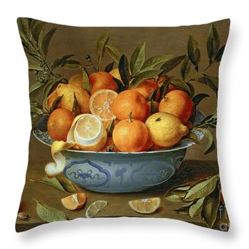 Still Life With Oranges And Lemons In A Wan-li Porcelain Dish  Throw Pillow by Jacob van Hulsdonck