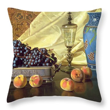 Still Life With Peaches Throw Pillow by Edward Chalmers Leavitt