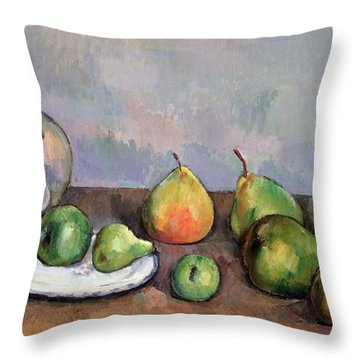 Still Life With Pitcher And Fruit Throw Pillow by Paul Cezanne
