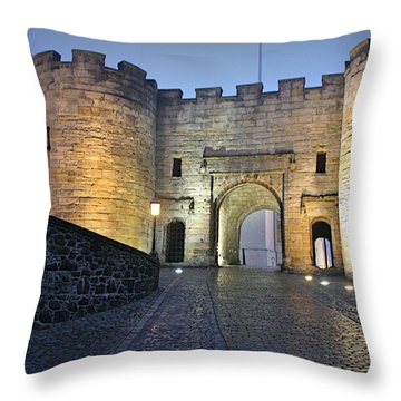 Stirling Castle Scotland In A Misty Night Throw Pillow by Christine Till