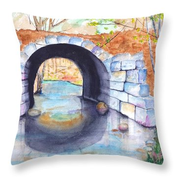 Stone Arch Bridge Dunstable Throw Pillow by Carlin Blahnik