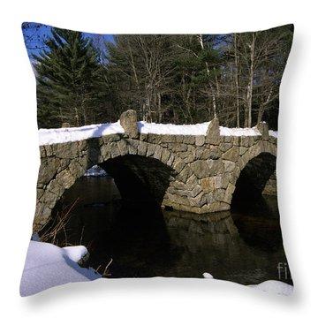 Stone Double Arched Bridge - Hillsborough New Hampshire Usa Throw Pillow by Erin Paul Donovan