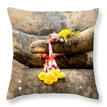 Stone Hand Of Buddha Throw Pillow by Adrian Evans