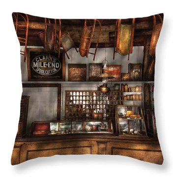 Store - Old Fashioned Super Store Throw Pillow by Mike Savad