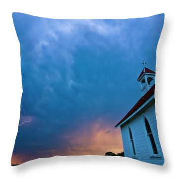 Storm Clouds Over Saskatchewan Country Church Throw Pillow by Mark Duffy