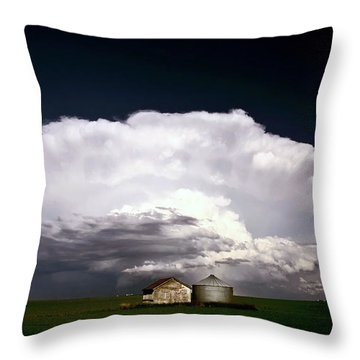 Storm Clouds Over Saskatchewan Granaries Throw Pillow by Mark Duffy
