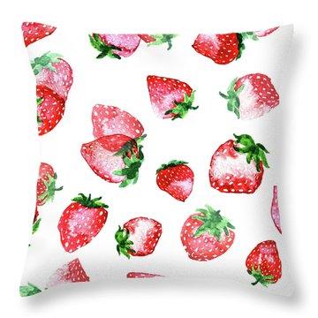 Strawberries Throw Pillow by Varpu Kronholm