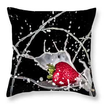 Strawberry Extreme Sports Throw Pillow by TC Morgan