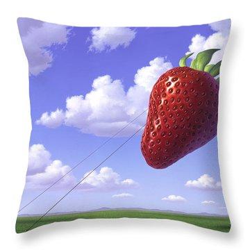 Strawberry Field Throw Pillow by Jerry LoFaro