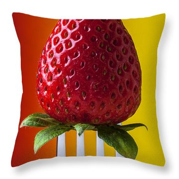 Strawberry On Fork Throw Pillow by Garry Gay