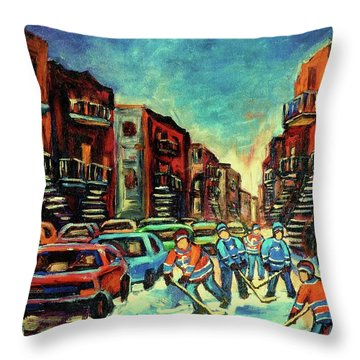 Streetscenes Of Montreal Hockey Paintings By Montreal Cityscene Specialist Carole Spandau Throw Pillow by Carole Spandau