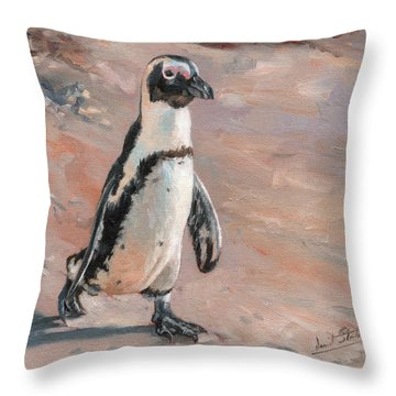 Stroll Along The Beach Throw Pillow by David Stribbling