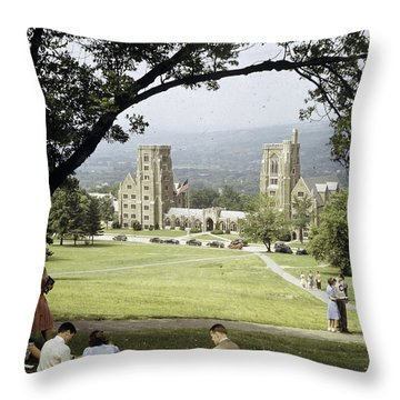 Students Sit On A Hill Overlooking Throw Pillow by Volkmar Wentzel