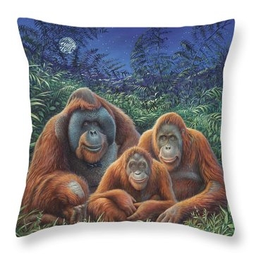 Sumatra Orangutans Throw Pillow by Hans Droog