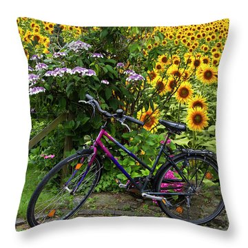 Summer Cycling Throw Pillow by Debra and Dave Vanderlaan