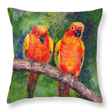 Sun Parakeets Throw Pillow by Arline Wagner