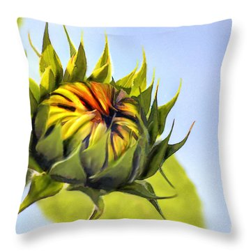 Sunflower Bud Throw Pillow by John Edwards