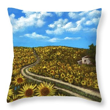 Sunflower Road Throw Pillow by Anastasiya Malakhova