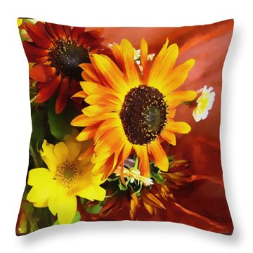 Sunflower Strong Throw Pillow by Kathy Bassett
