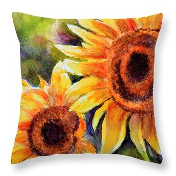 Sunflowers 2 Throw Pillow by Susan Jenkins