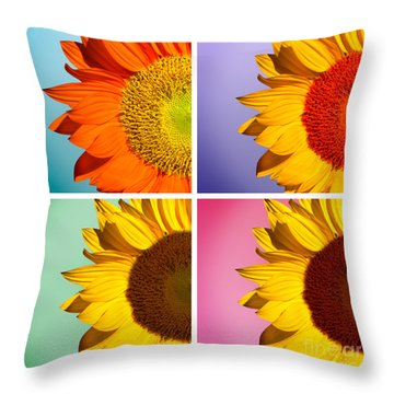 Sunflowers Collage Throw Pillow by Mark Ashkenazi